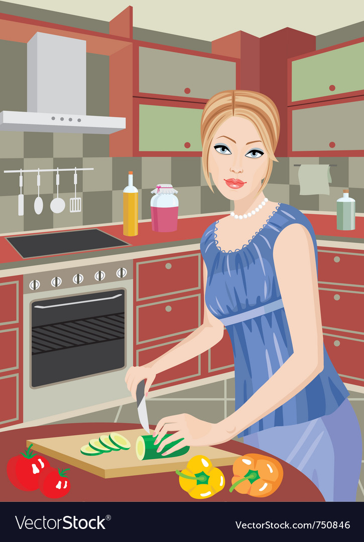 Young woman on kitchen vector image