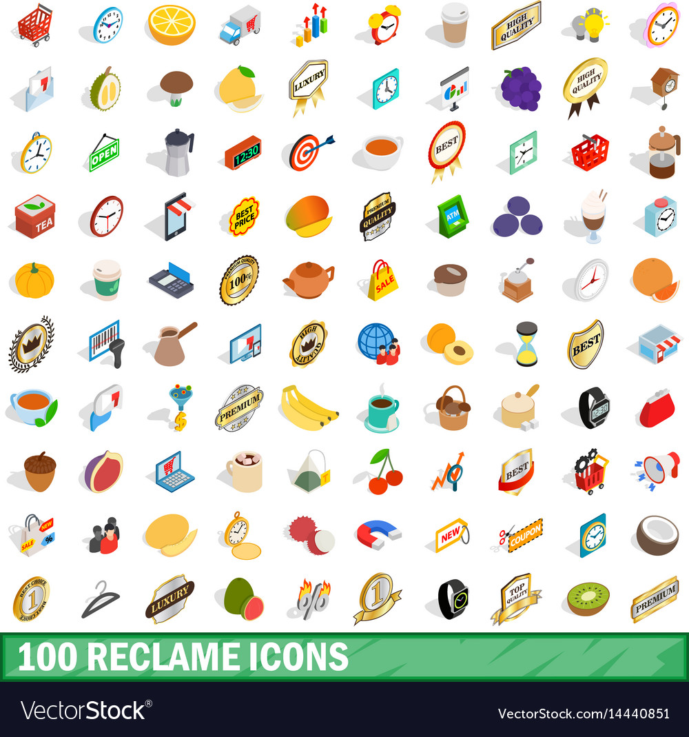 100 reclame icons set isometric 3d style vector image