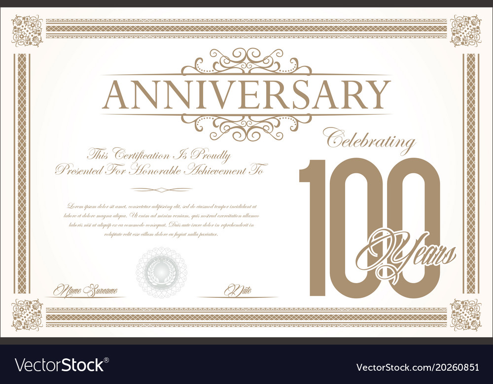 Anniversary retro vintage background 100 years vector image