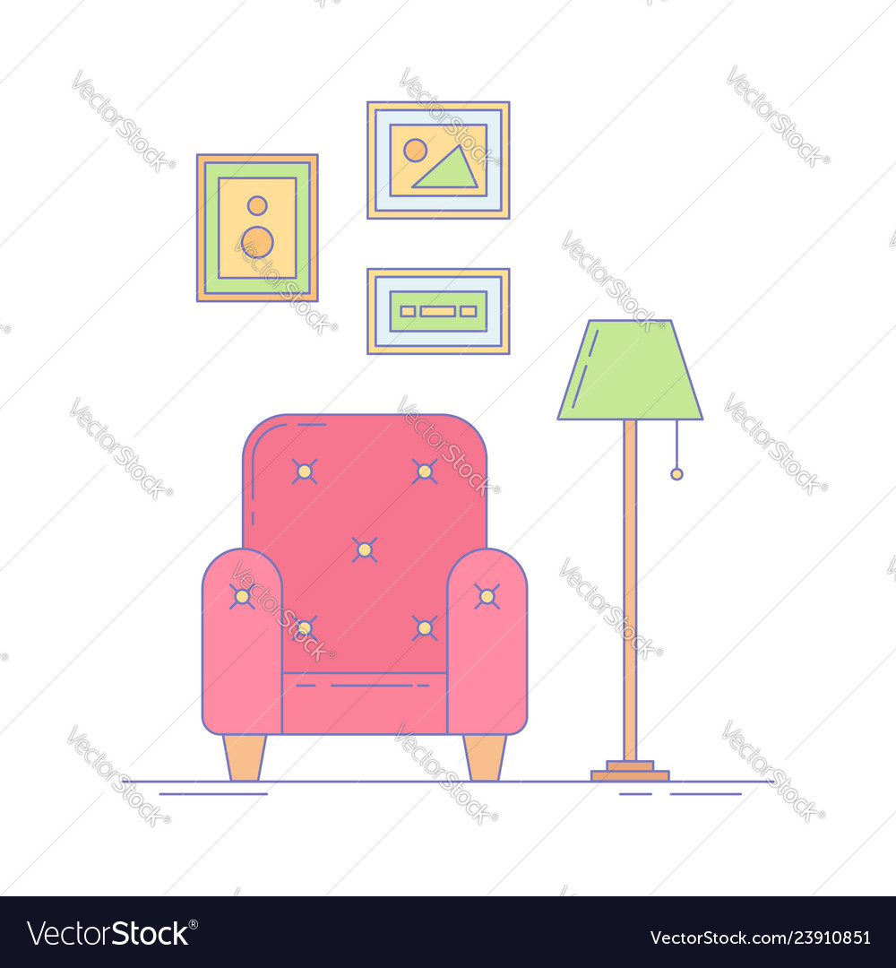 Armchair picture frames and lamp interior