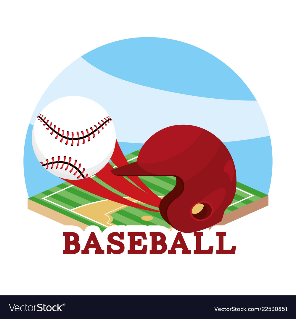 Baseball sport game and helmet with ball