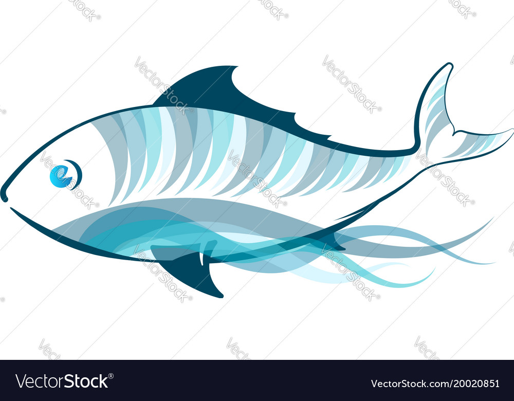 Blue fish on a wave