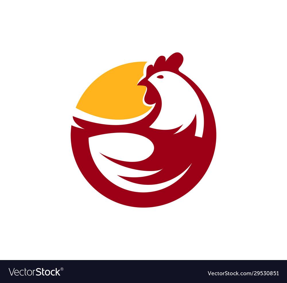 Chicken logo farm animal symbol or label