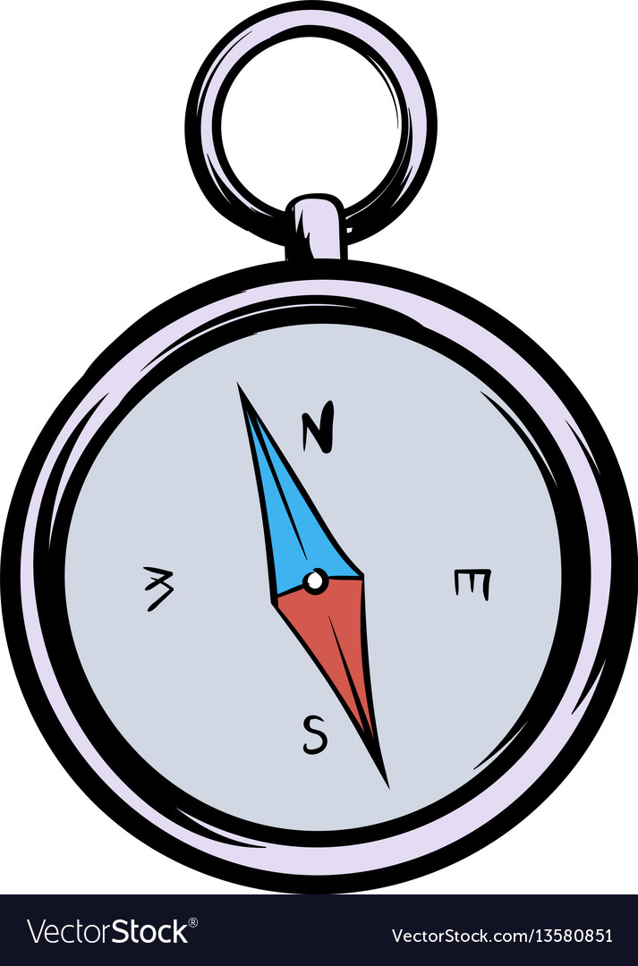 Compass icon cartoon