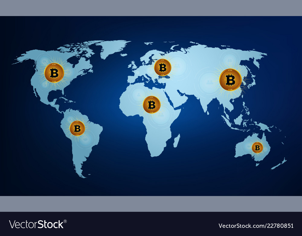 Digital currency bitcoin on the world map