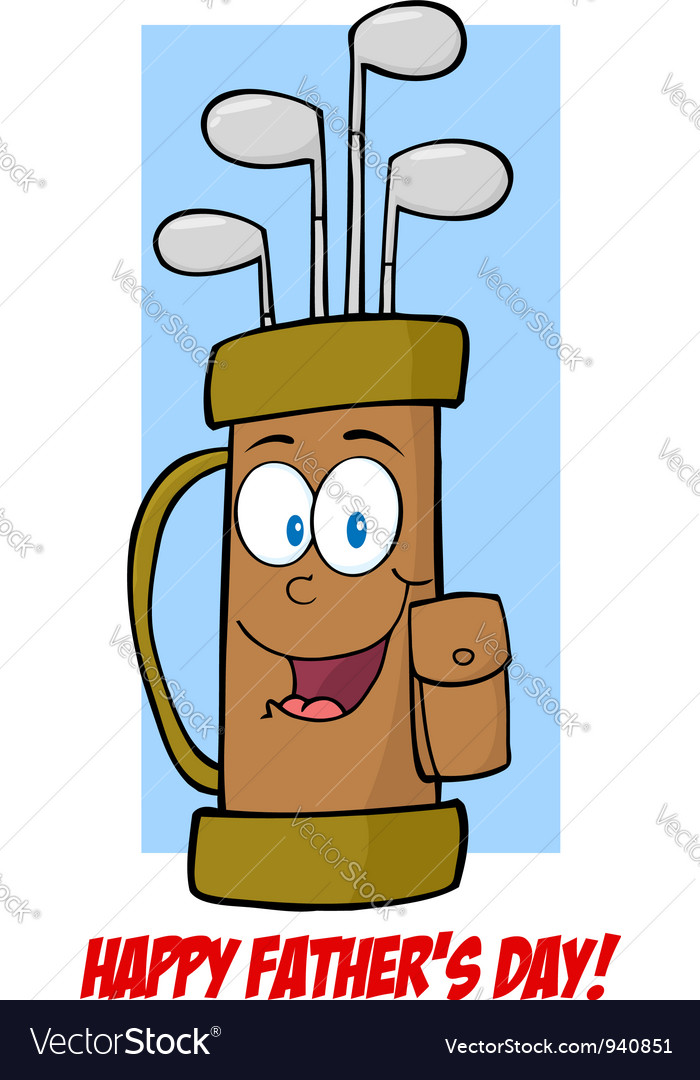 Fathers Day Greeting Card With Golf Bag Royalty Free Vector