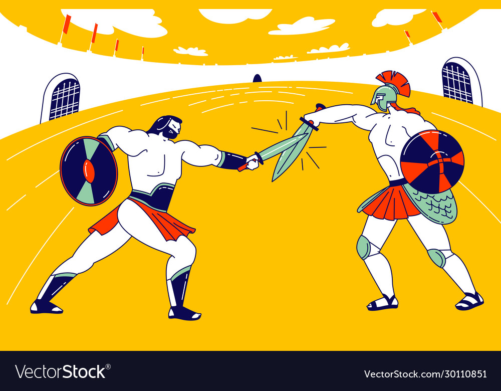 Gladiator character fighting with barbarian