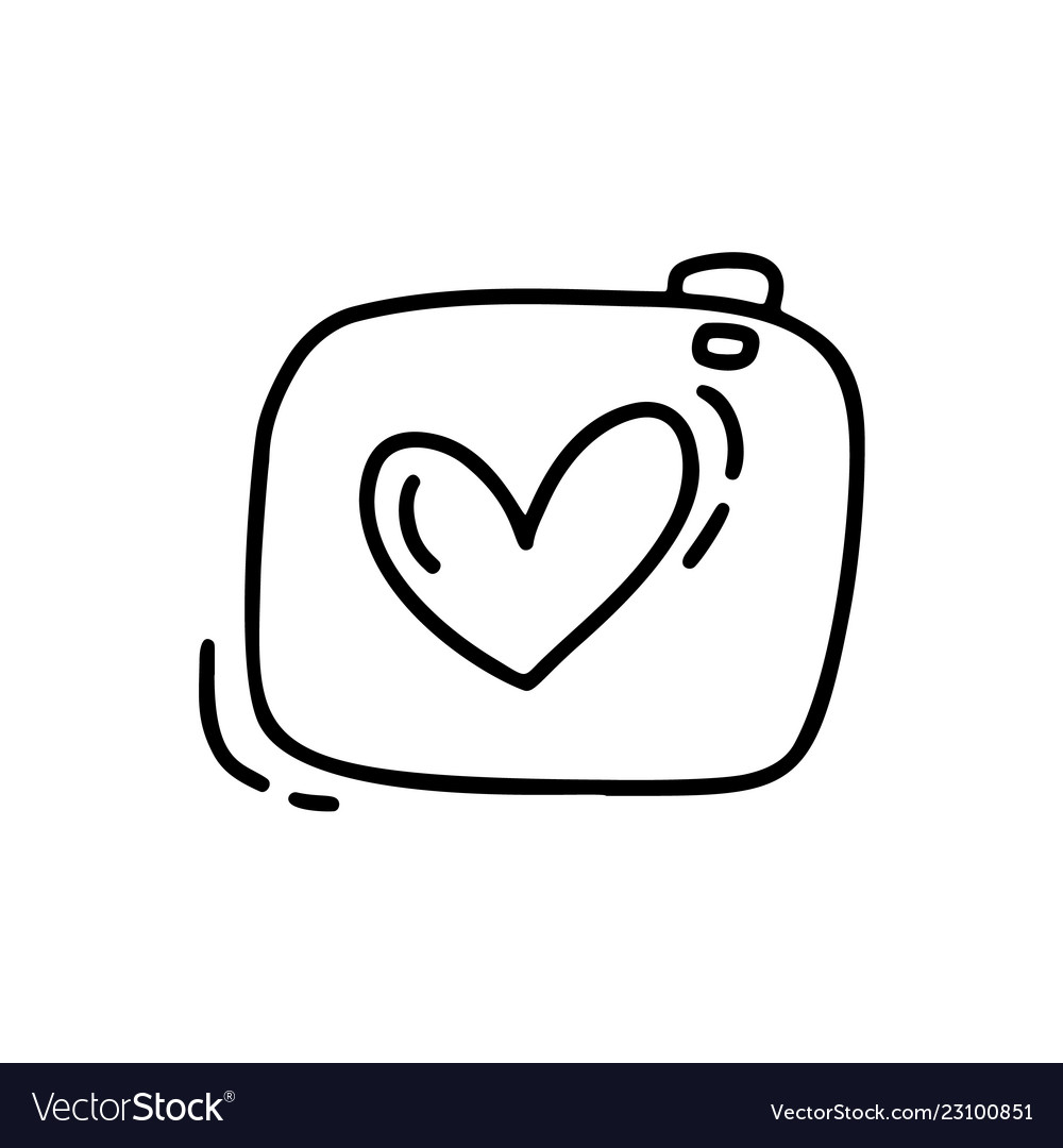 Monoline Cute Camera Valentines Day Hand Vector Image