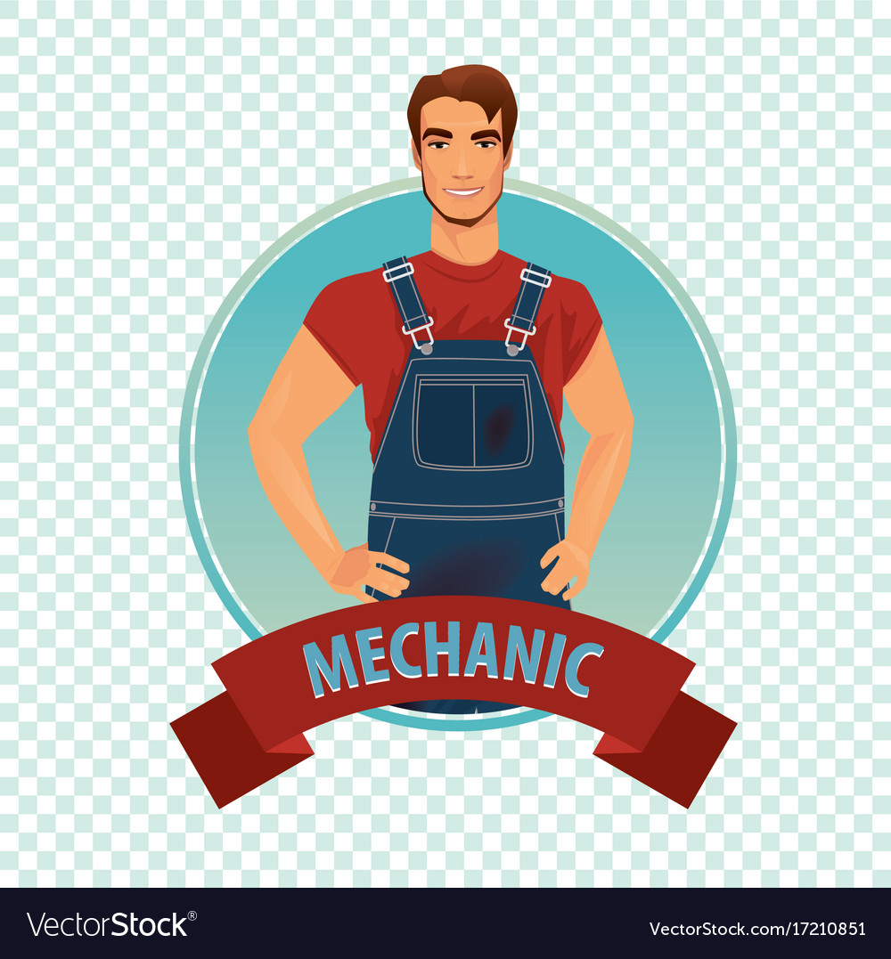 Round icon on white background with car mechanic vector image