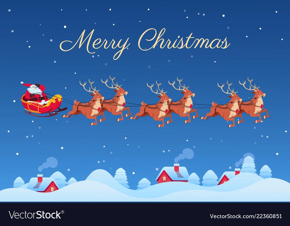 Santa claus and reindeers santa flying over