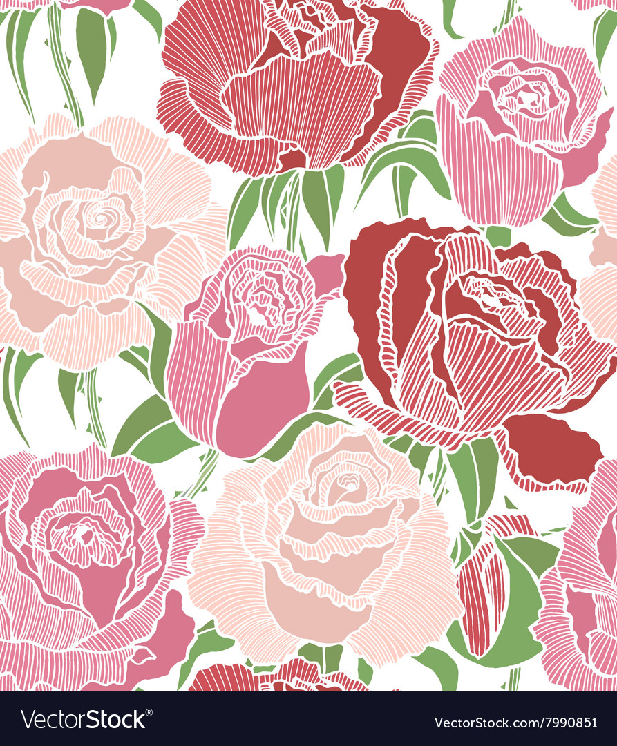 Seamless background with pink and red roses