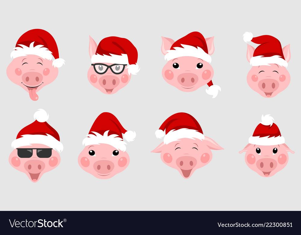Set christmas pigs with santa hats symbol 2019