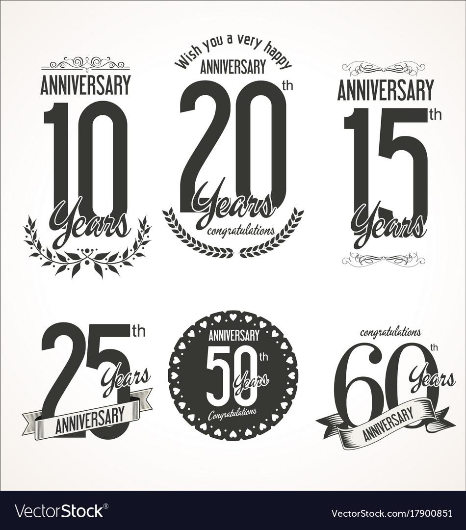 Set of anniversary signs