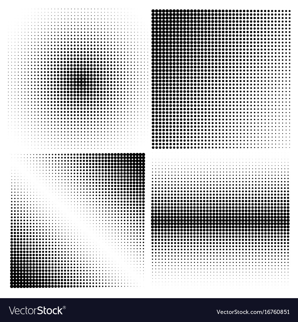 Set of halftone backgrounds black color vector image