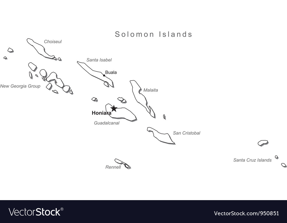Map Of Georgia With Major Cities.Solomon Islands Black White Map With Major Cities