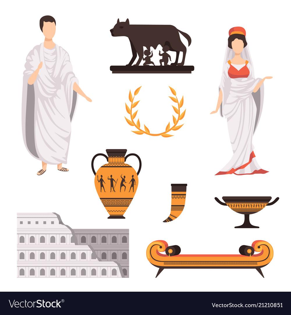 Traditional Cultural Symbols Of Ancient Rome Set Vector Image