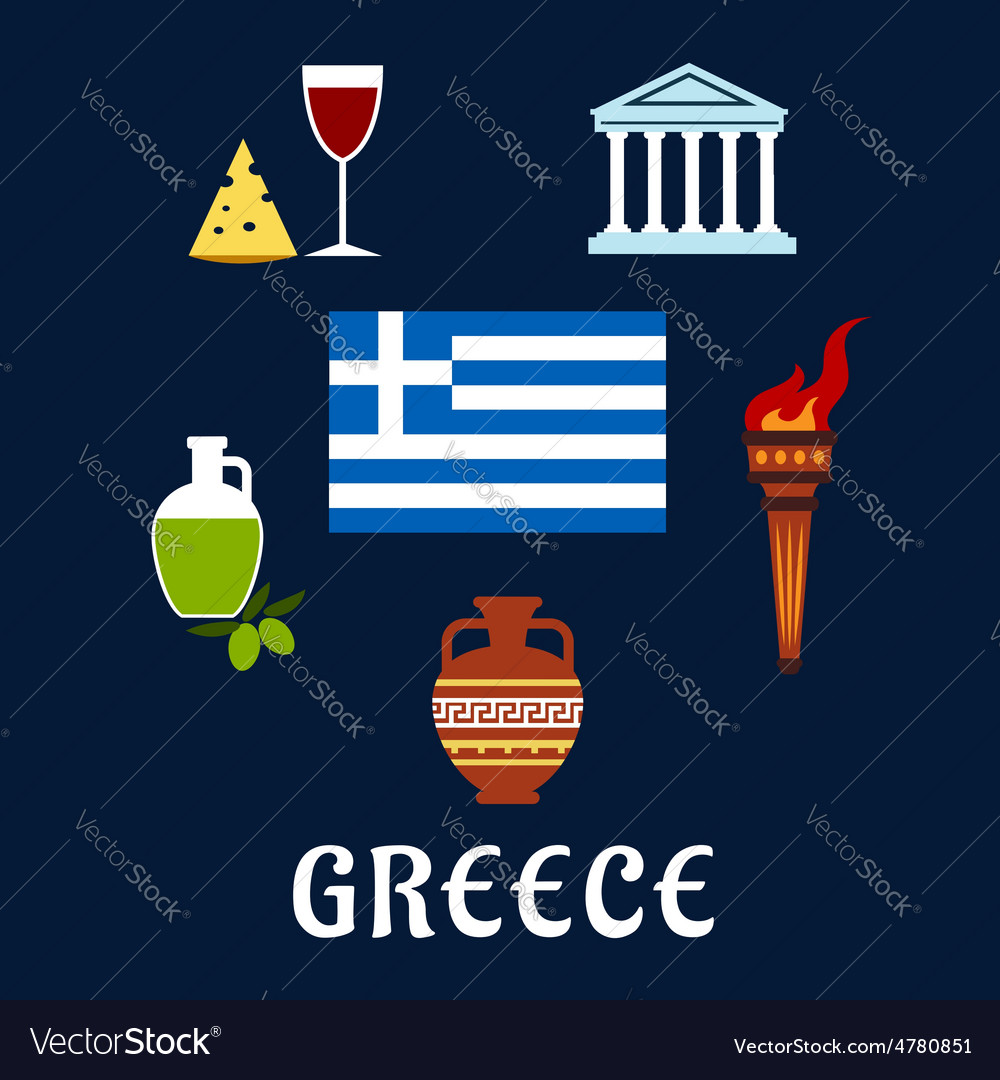 Traditional Greece symbols and culture icons