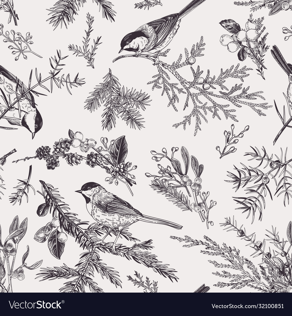Vintage seamless pattern with birds