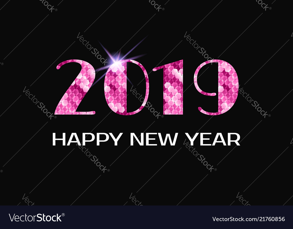 2019 happy new year greeting card pink numbers