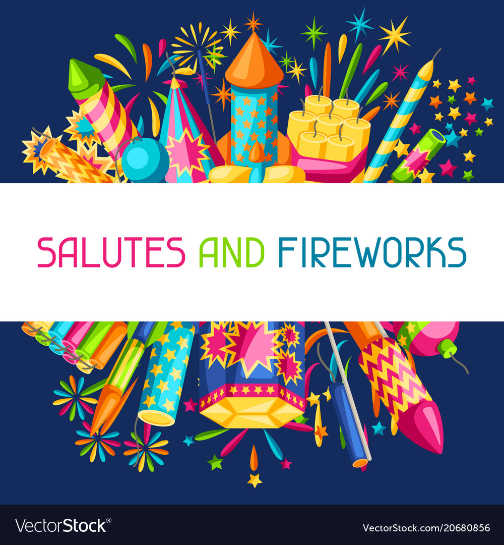 Background with colorful fireworks different