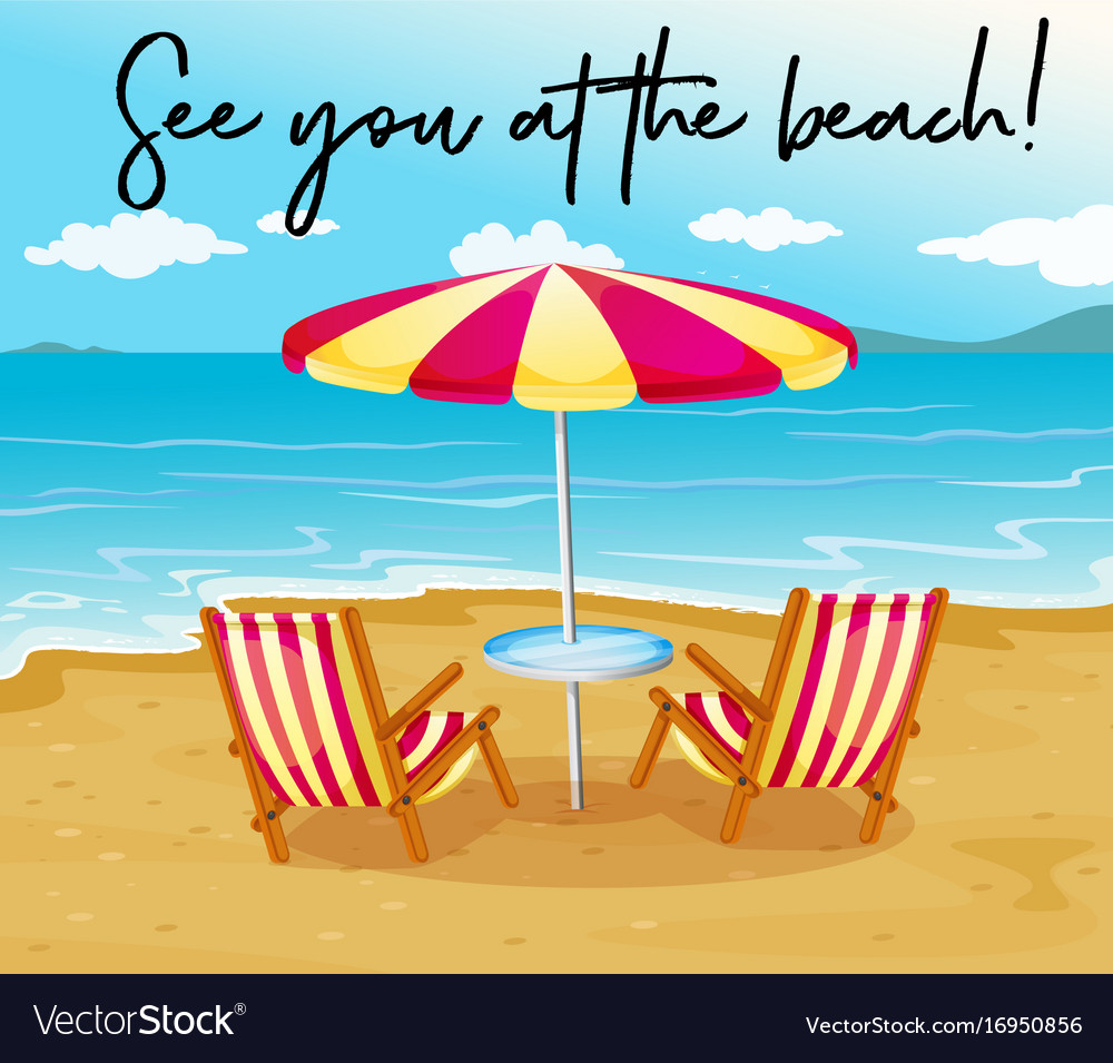 Beach Scene With Phrase See You At The Beach Vector Image