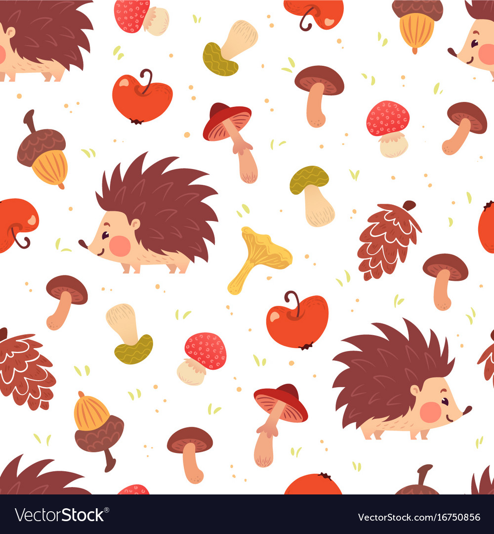 Cute autumn seamless pattern with hedgehogs
