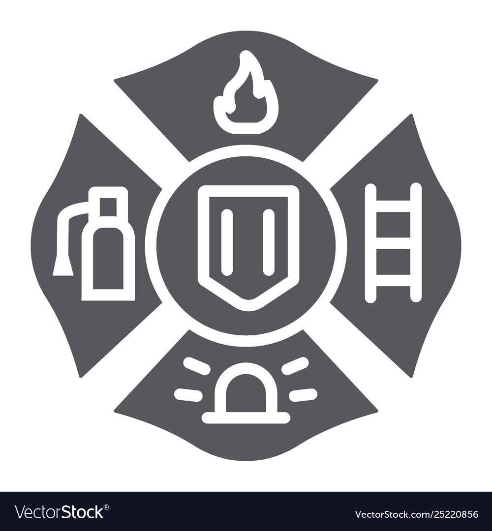 Fire emblem glyph icon symbol and firefighter