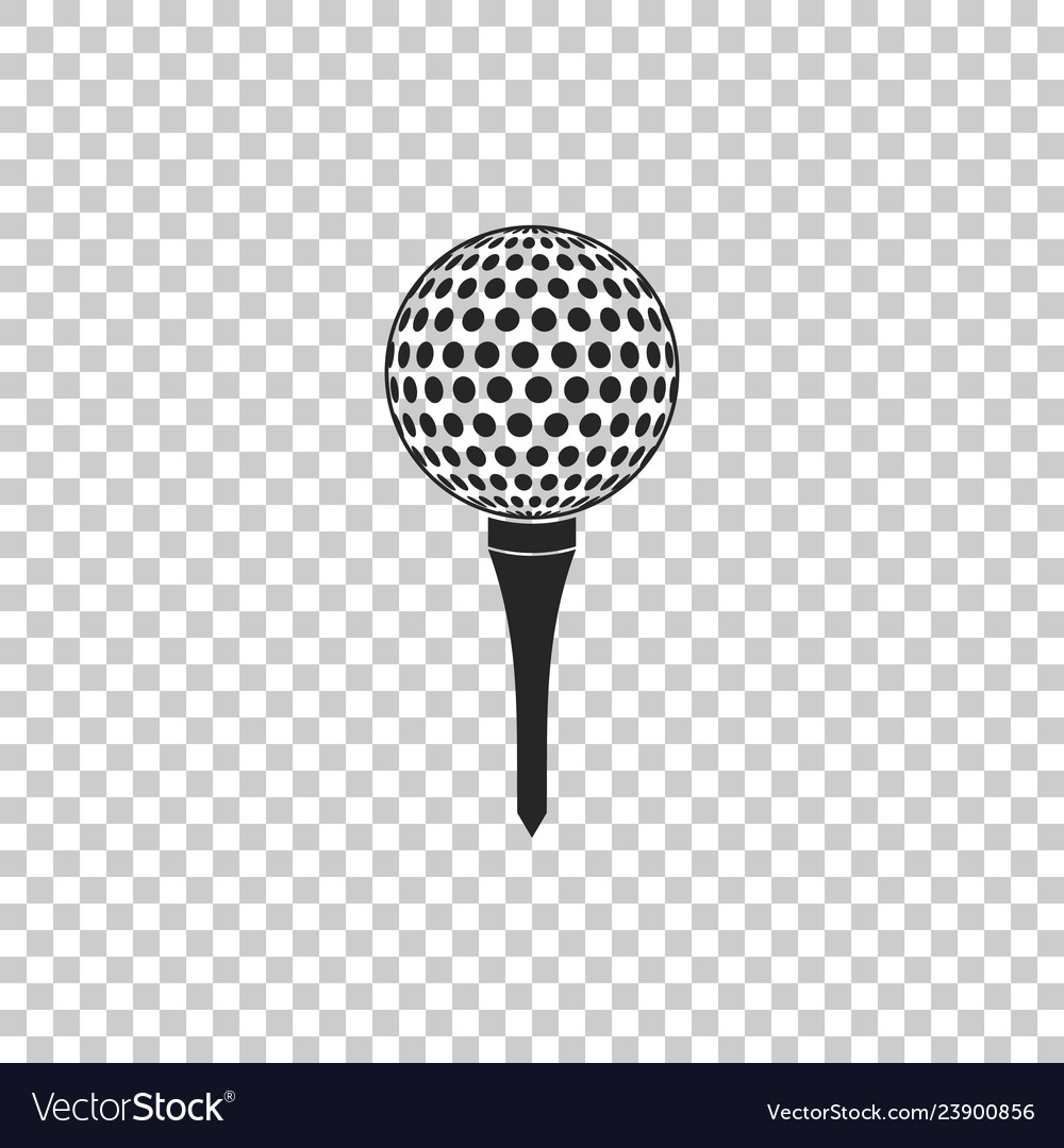 Golf Ball On Tee Icon On Transparent Background Vector Image