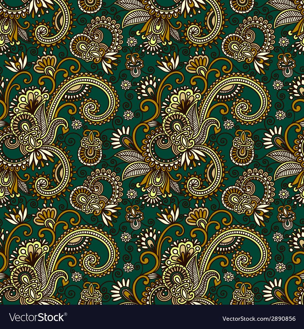 Hand draw ornate seamless flower paisley design vector image