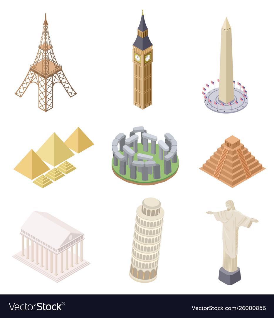 Isometric landmark famous building travel