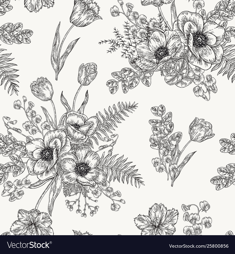Seamless pattern with anemones spring flowers and