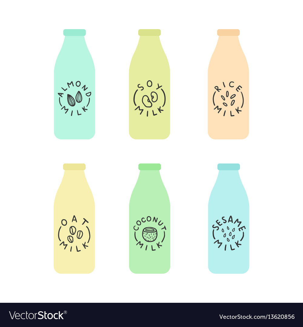 Set of bottles with plant based milk