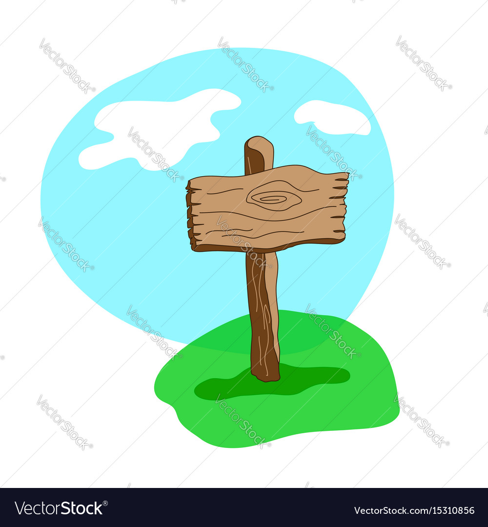 Square cartoon wooden sign in grass