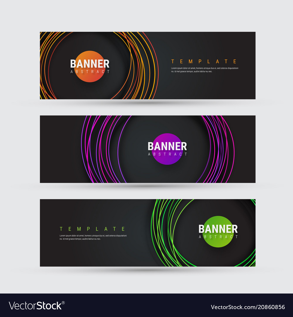 Template of black banner with round multicolored