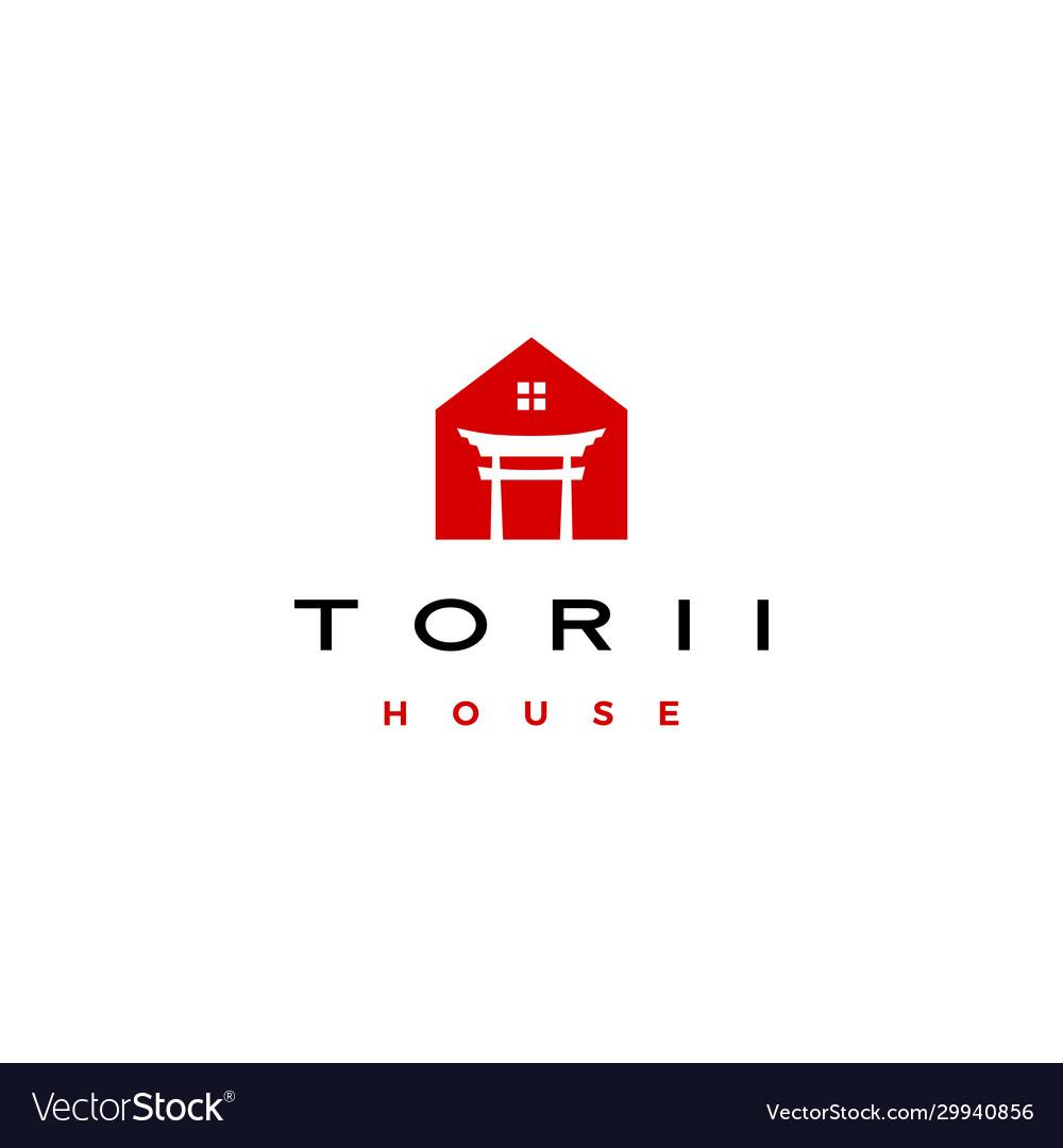 Torii gate house logo icon