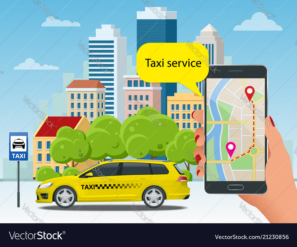 Yellow taxi cab and mobile application in phone vector image on VectorStock