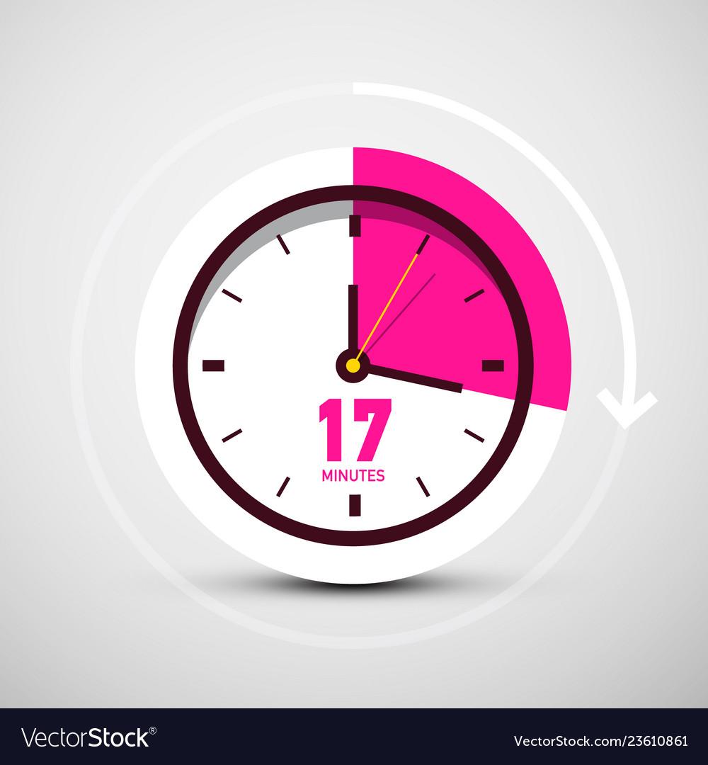 17 seventeen minutes symbol on clock icon