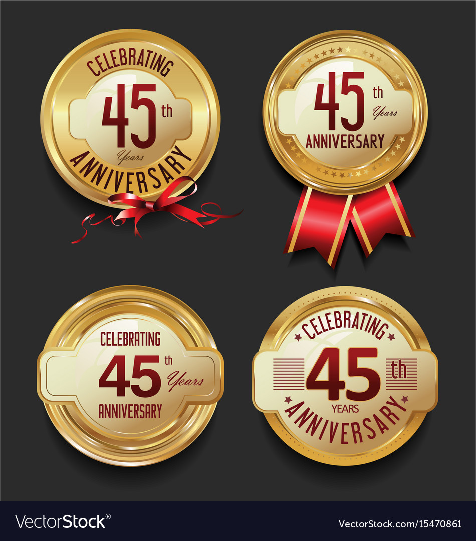 Anniversary retro golden labels collection 45 vector image