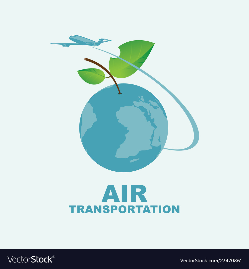 Banner on air transportation with planet earth