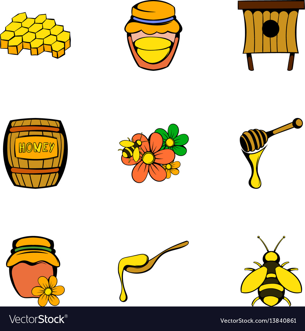 Bee icons set cartoon style