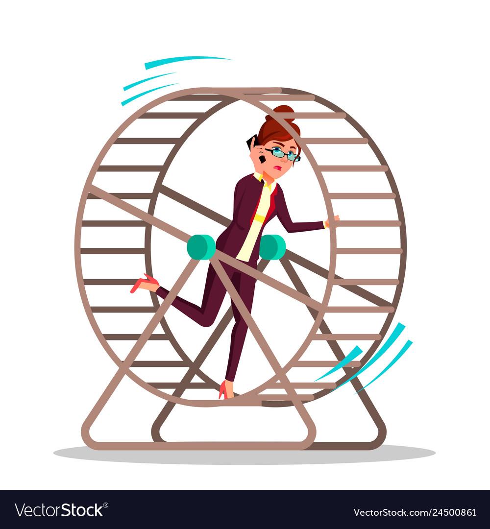 Businesswoman running inside a rat wheel