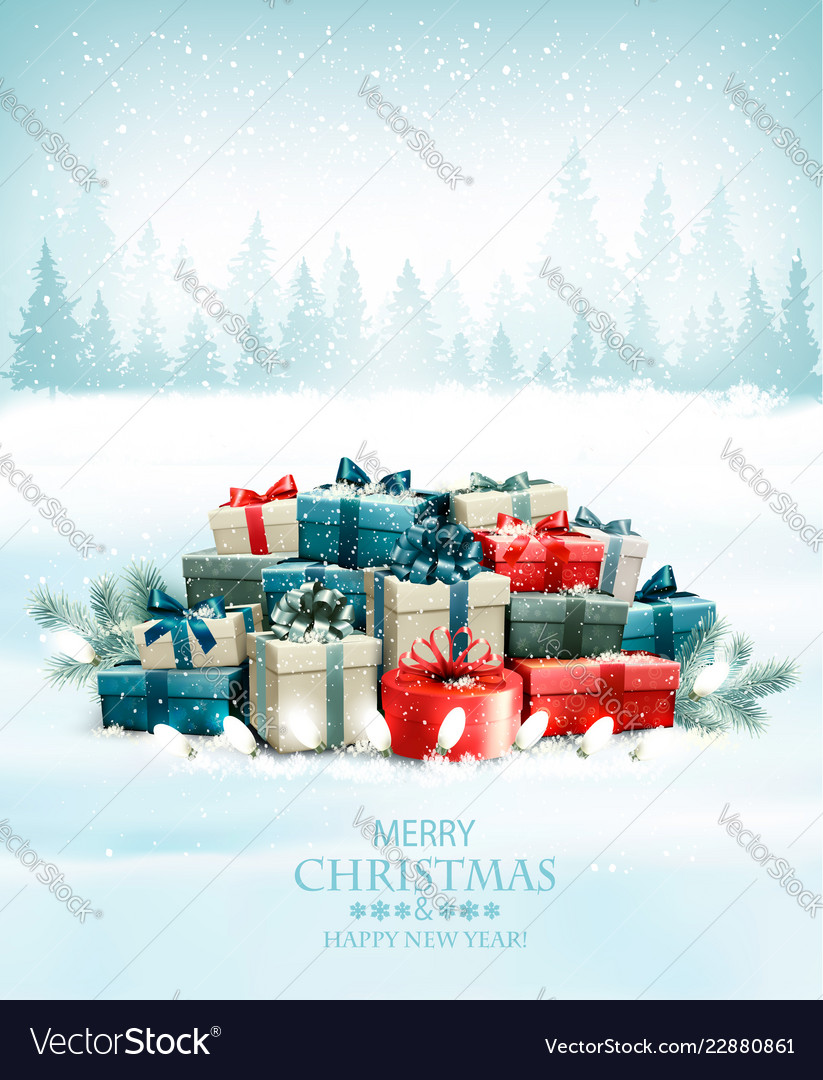 Christmas holiday background with colorful gift