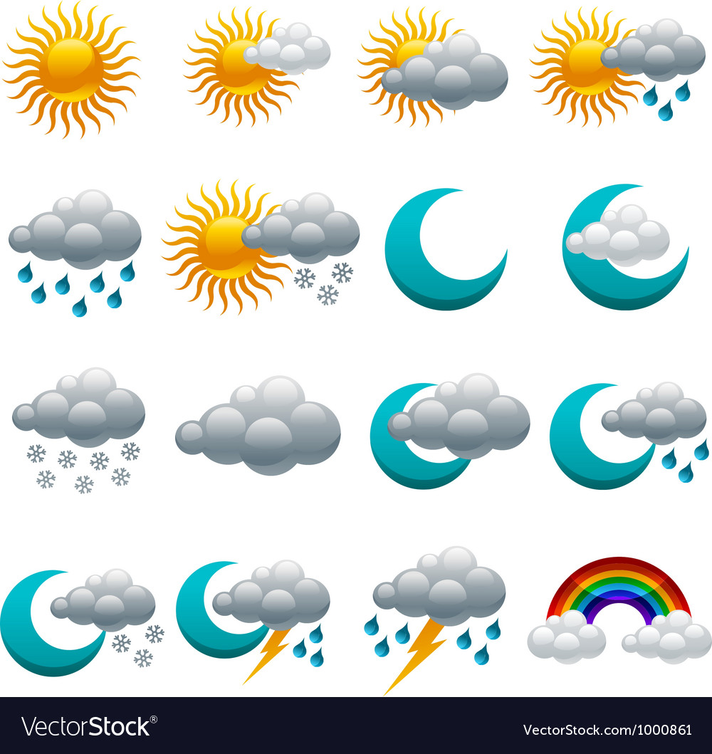 Colorful Glossy weather Icons vector image