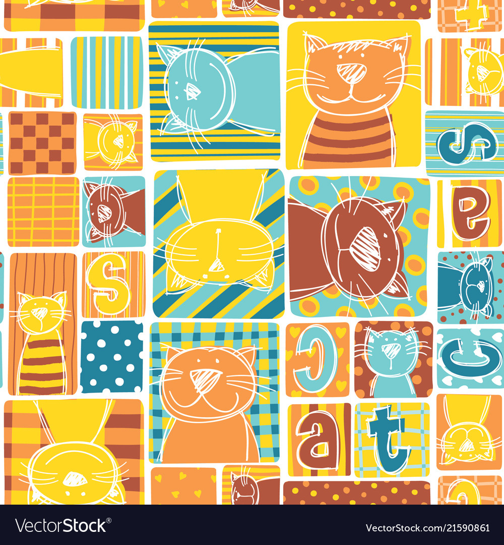 Funny cat fabric patchwork wallpaper