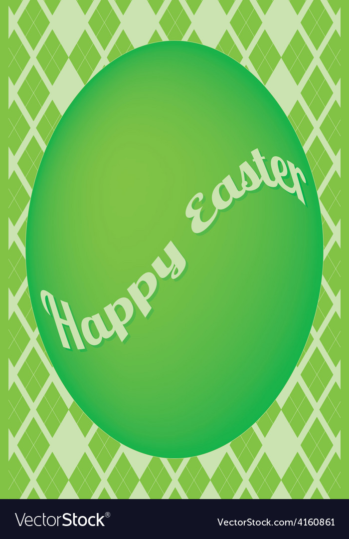 Green easter egg card on green diamond pattern vector image