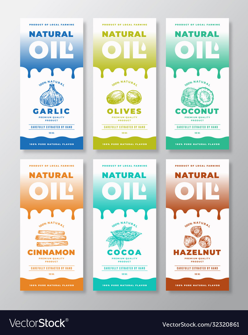 Natural oil abstract packaging designs or
