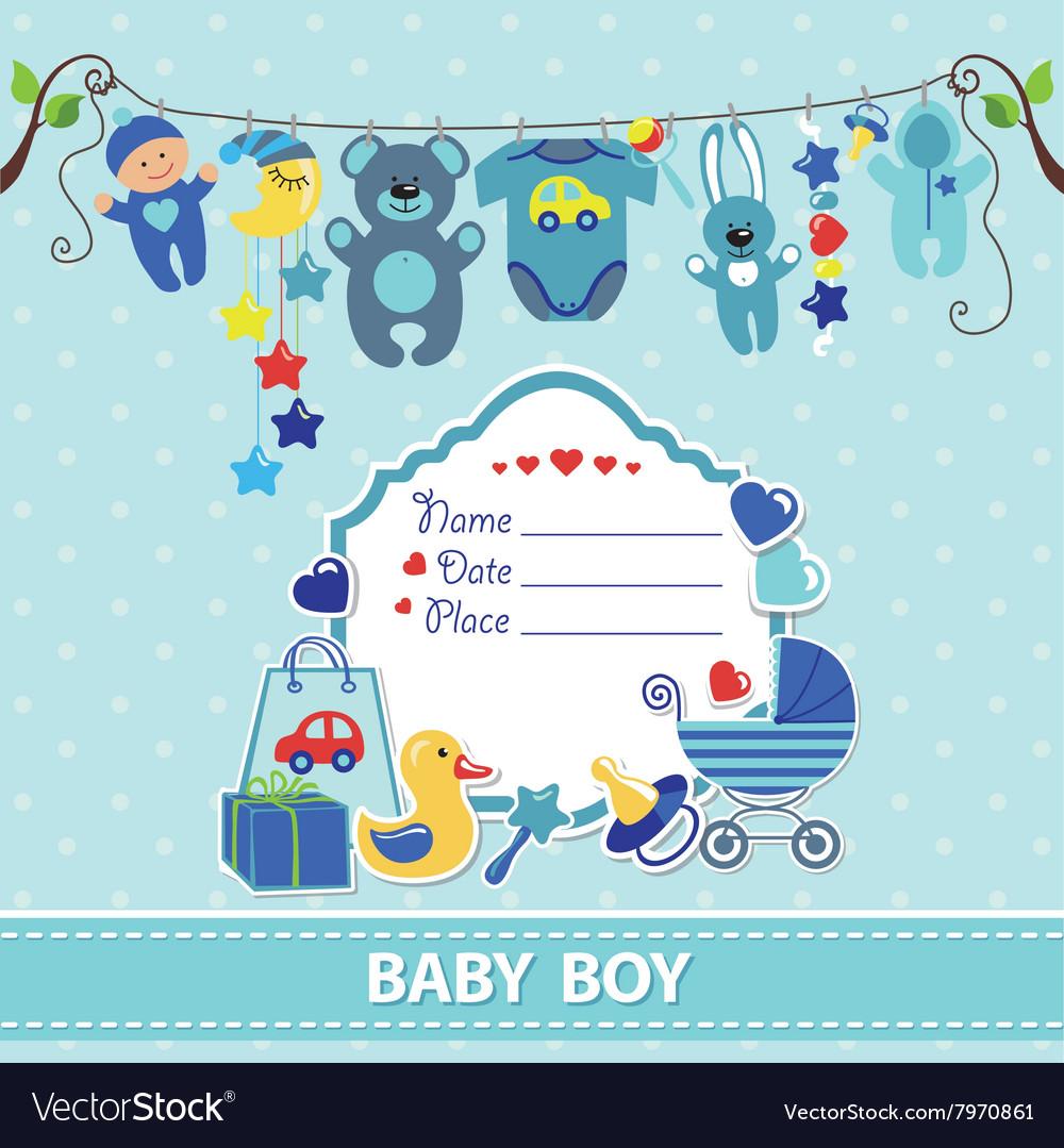 New born baboy card shower invitation template