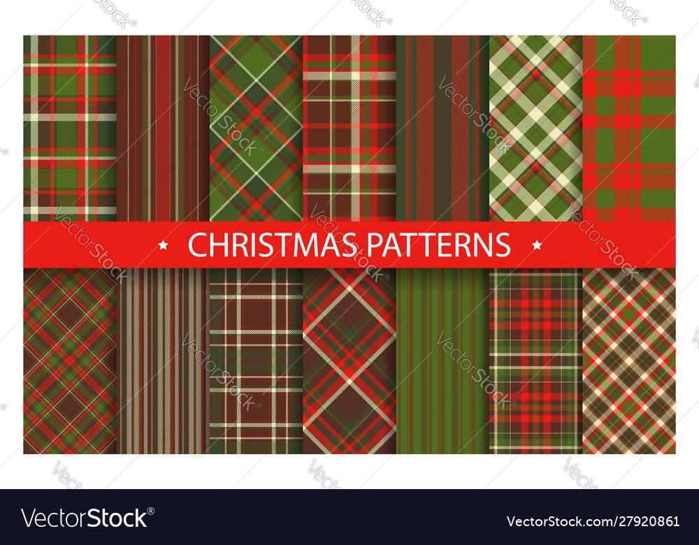 Plaid pattern seamless ornate set christmas