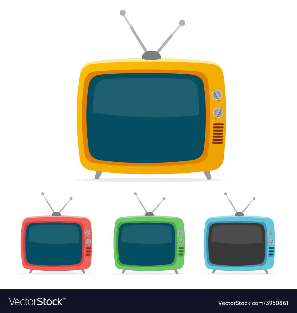Retro tv set Flat Design