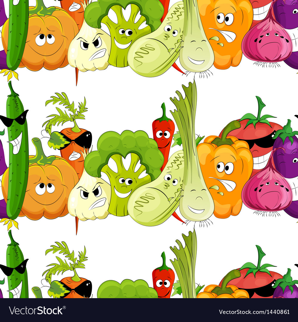 Seamless funny vegetable background